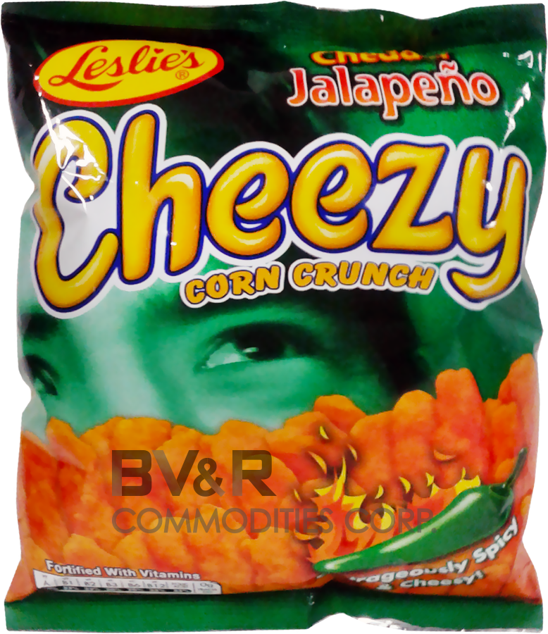 LESLIE'S CHEDDAR JALAPEÑO CHEEZY CORN CRUNCH OUTRAGEOUSLY SPICY & CHEESY