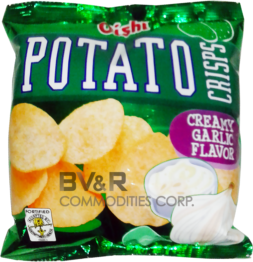 OISHI POTATO CRISPS CREAMY GARLIC FLAVOR
